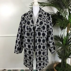 Lane Bryant Blue White Geometric Trench Coat 22